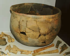A historic era pot (reconstructed) found at Proctor's Bend on the Etowah River