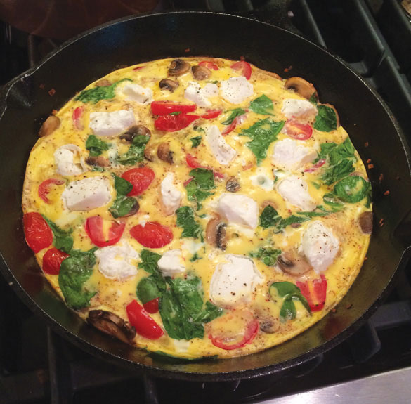 Spinach, Mushroom, Tomato and Goat Cheese Frittata
