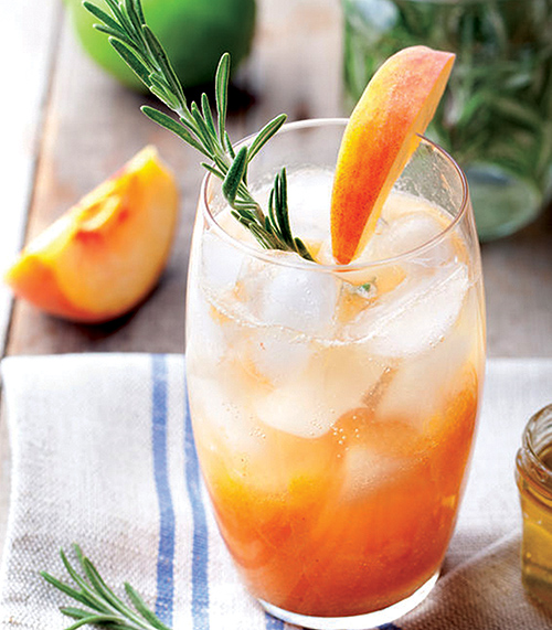 Peach Rosemary Fizz