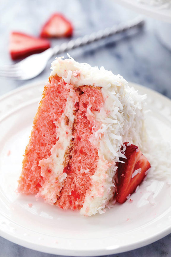 Strawberry Cake with Coconut Cream Cheese Frosting
