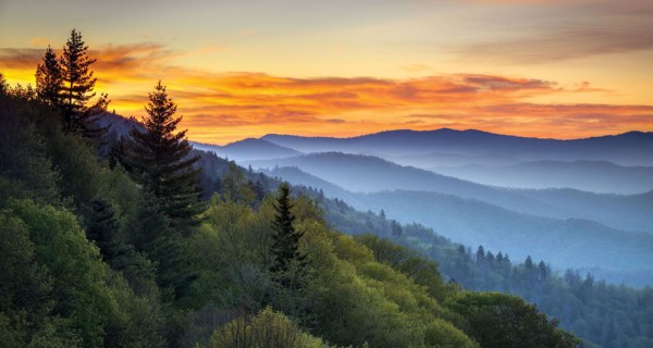17247514 - great smoky mountains national park scenic sunrise landscape at oconaluftee overlook between cherokee nc and gatlinburg tn