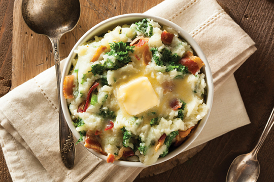 36521480 - homemade irish potato colcannon with greens and pork